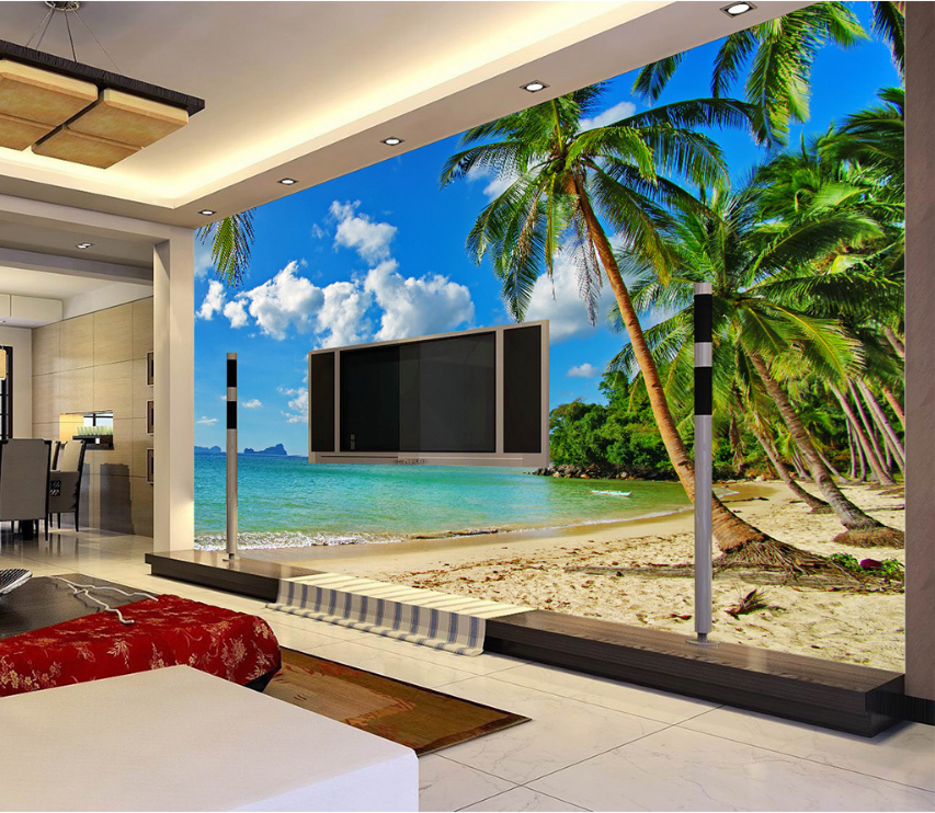 3D Beach Tree Sea 6 Wallpaper Murals Wall Print Wallpaper Mural AJ WALL AU Lemon