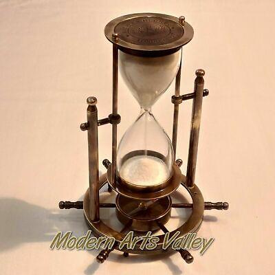 Antique Brass Revolving Sand Timer Base Wheel Compass Gift Ebay