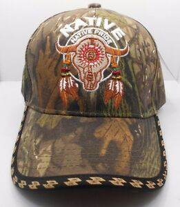 42e0e9ee6ea9b Native Pride Buffalo Skull   Feathers Ball Cap Hat in Camo New H34 ...