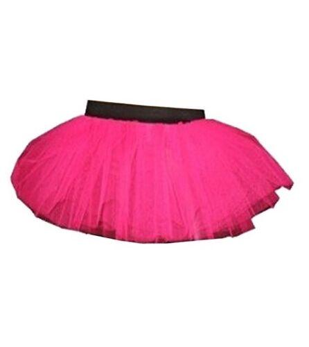 NEON UV anni/'80 Rosa Shocking 3 strati gonna tutu Hen Night Rave Fancy Dress Size 6-14