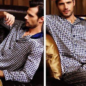 Mens Silk Satin Pajamas Pajama Pyjamas Set Sleepwear S, M, L, XL  Lounge Wear