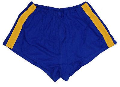 Dedito Esercito In Esecuzione Pantaloncini Blu Navy A Righe Giallo Hot Pants Sport Retrò Vintage In Buonissima Condizione-mostra Il Titolo Originale