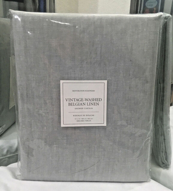 Restoration Hardware Vintage Washed Belgian Linen Shower Curtain Eucalyptus NEW