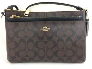 ab251384bdc109 New Coach F58316 E W Crossbody With Pop-Up Pouch Coated Canvas Brown ...