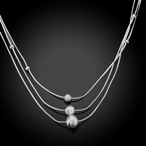 Fashion 925 Sterling Argent Massif Bijoux 3 chaine boule collier pour femmes N220