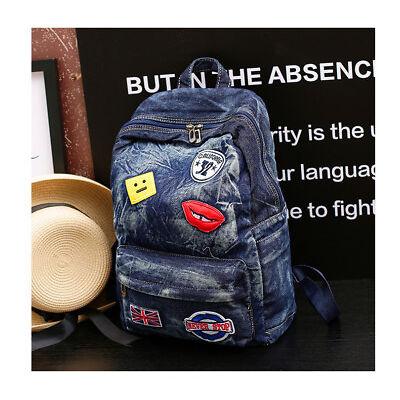 Denim Backpack Rucksack School Travel Rucksack Handbag Shoulder Bag Boys Girls