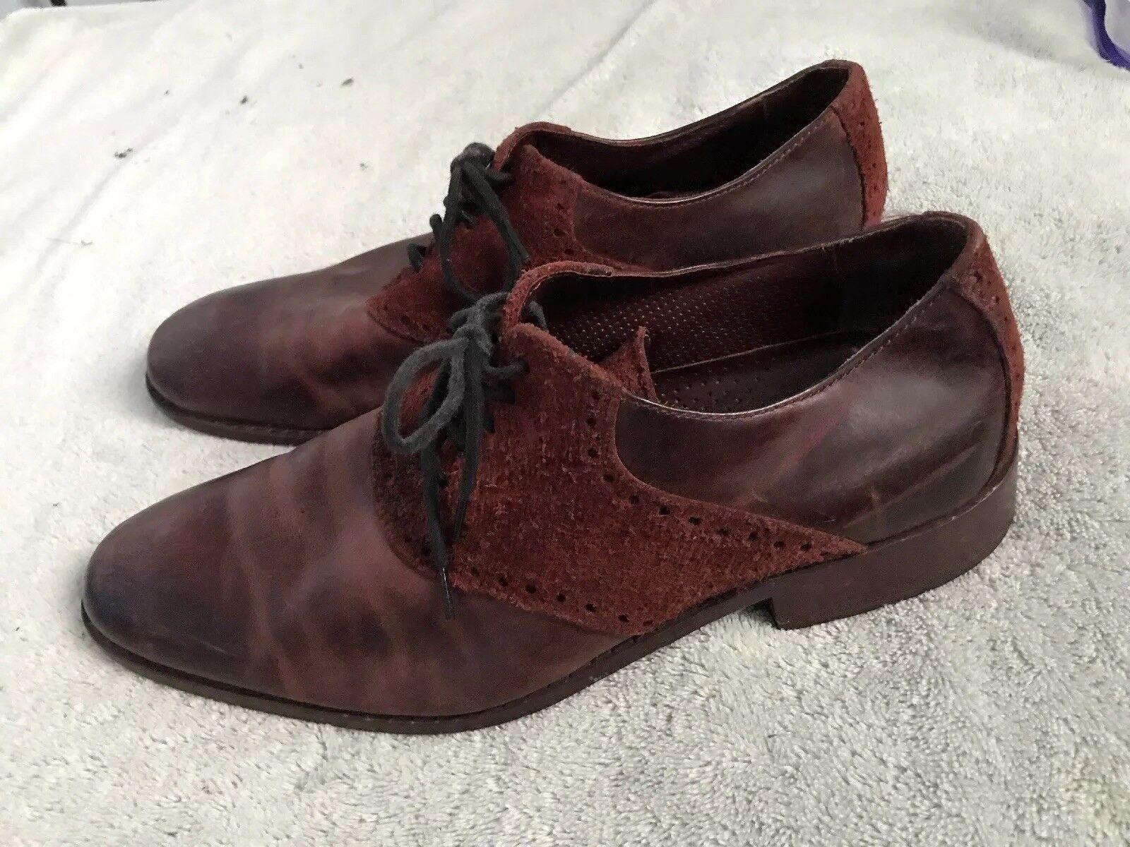 Cole Haan Uomo Brown Suede Pelle Wing Tip Dress Shoes Sz 10M SC8