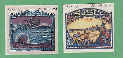 COLORFUL PAIR OF SUSEL NOTGELD NOTES 75 PFENNIG /& 1 MARK 1921 CAT 60 EUROS UNC!