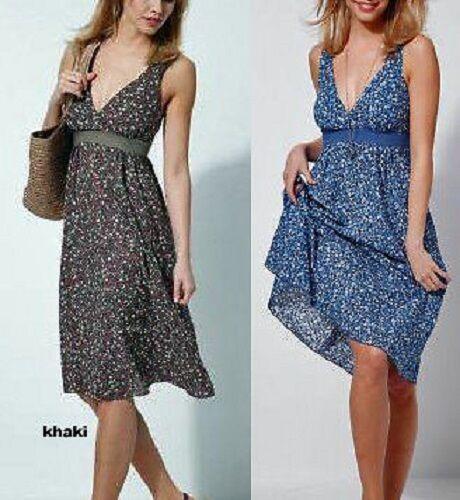 517256 Empire Kleid khaki Blumen Gr 42 Smok NEU