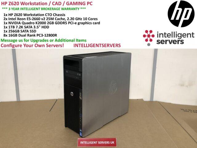 Station de travail HP Z620 2x Xeon E5-2660 V2 2.20GHz 128 Go 1 To SATA 256 Go SSD K2000