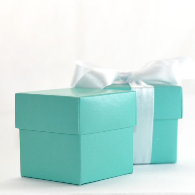 "50 LUXURY LINED BLUE WEDDING FAVOUR GIFT BOX & LID""""""Tiffany Theme!"""""" Free P&P"