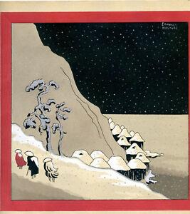 1930s-French-Pochoir-Print-Edouard-Halouze-Art-Deco-Asian-Peasants-Village