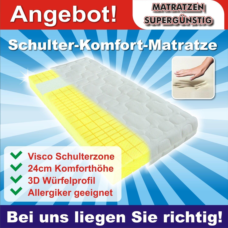 Bequeme Visco-KS-Matratze mit 3D-Würfelschnitt und Schulterzone 90x200cm, H2