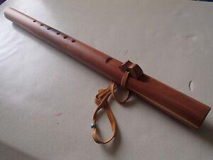 Signed STEPHEN DERUBY Wood Wooden Unique Wide Native American Style Flute NAF