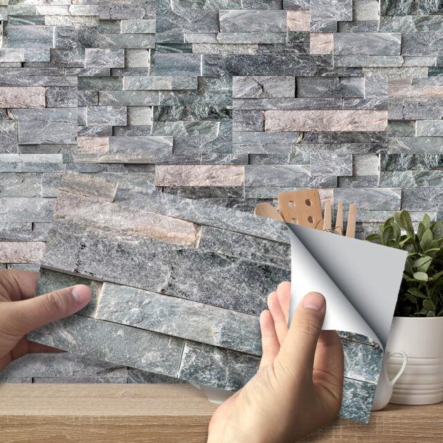 9PCS/Set Kitchen Tile Stickers Bathroom Mosaic Sticker Self-adhesive Wall Decor