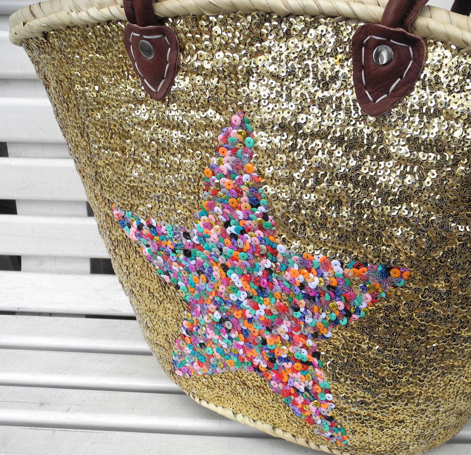 Ibiza Strandtasche- Korbtasche komplett mit Pailletten & Stern Stern Stern (Multi) verziert | Erste Kunden Eine Vollständige Palette Von Spezifikationen  2d2991