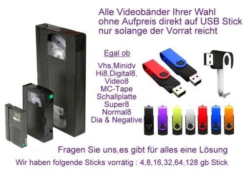 Hi8 Video8 Digital8 digitalisieren im MP4 Format auf USB-Stick inkl überspielen