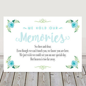Image Is Loading Pretty Blue Wedding Memorial Memory Table Heaven Sign