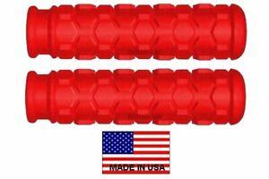 YAMAHA ATV GRIZZLY RAPTOR RED USA MADE HEX HANDLEBAR GRIPS - ATC 4 WHEELER 4X4