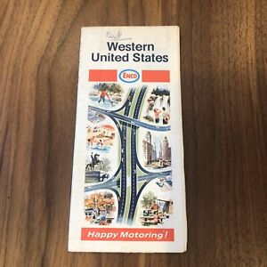 Details about Vintage Road Map of Western United States, Enco, 1960s oil gas