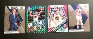 STEPH-CURRY-LOT-2019-20-Mosaic-Silver-Prizm-Will-to-Win-Green-Got-Game-MVP