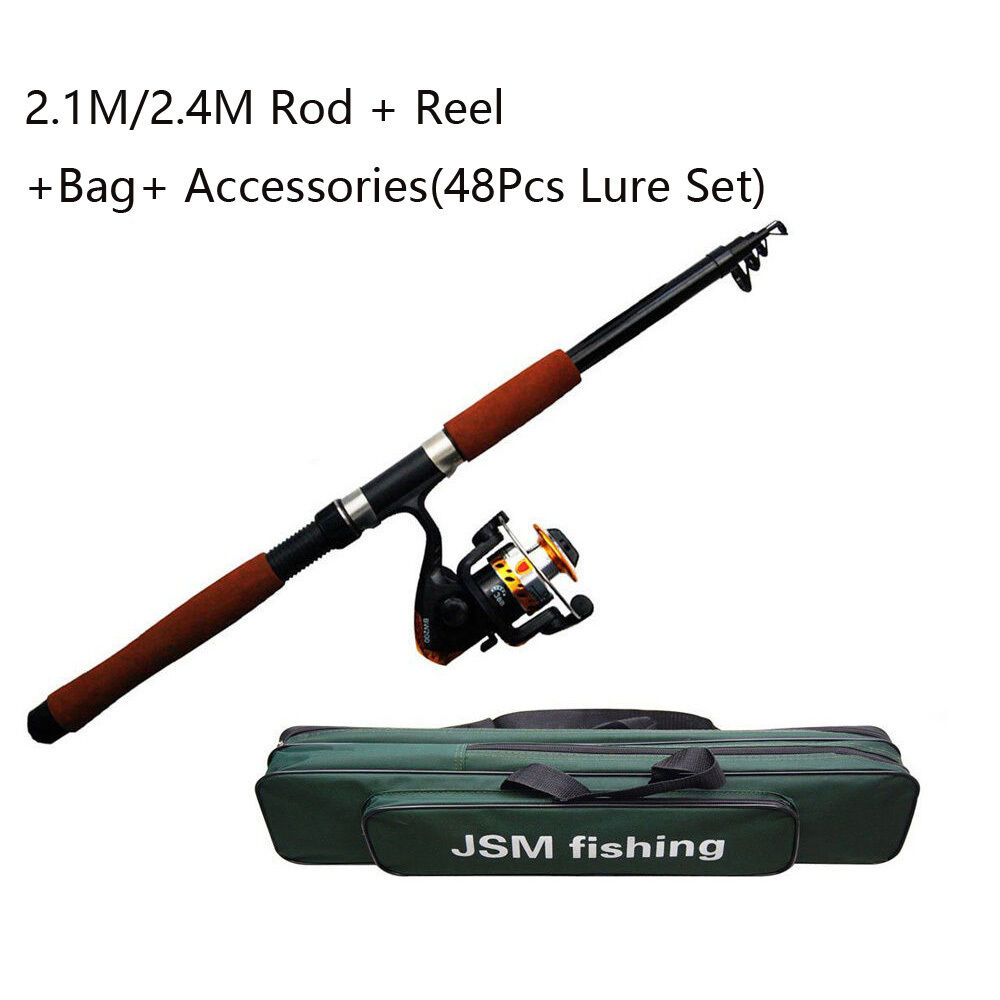 2.1M 2.4M Fishing Rod and Reel Combos Kits Spinning Telescope Adjustable Rod