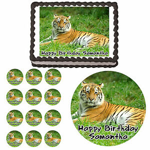 Siberian Tiger Edible Birthday Party Cake Cupcake Topper Decoration