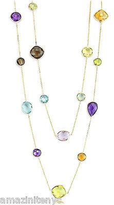 18K Yellow Gold Gemstone Necklace With Multi Shaped Gemstones 36 Inches