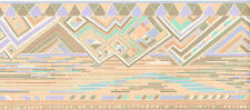 Geometric Modern Diamond Mosaic Tile Soft Pastel Peach Blue Wall paper Border