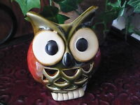 Owl Tea-lite Candle Holder. Ceramic, Harvest, Autumn, Fall