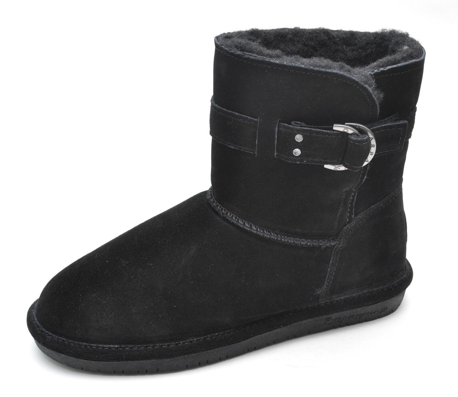 Bearpaw TESSA Black Suede Leather Sheepskin Ankle Boots Women's - NEW - 1243W