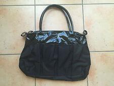 Schwarze Lack und Polyester Handtasche Tasche – Damen