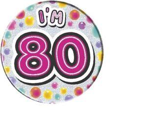80 Today Blue  80th Birthday Holographic Jumbo Badge