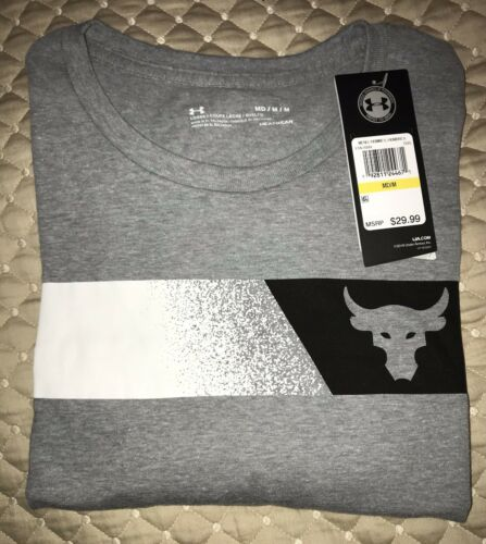 Under Amour Project Rock Men/'s Shirt Brahma Bull Stripe NWT in M, L, and XL