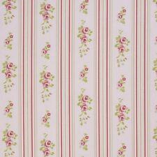 "Clarke and Clarke Floral Stripe Rose Fabric 137cm/ 54"" Wide"