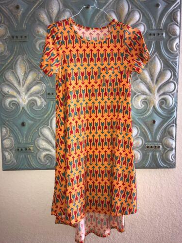 Lularoe Carly Dress XS yellow blue red geometric A