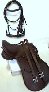 Rich-Brown-15-034-English-AP-Show-Jump-Saddle-Mini-Pony-Cob-Full-Bridle-48-034-Lthrs