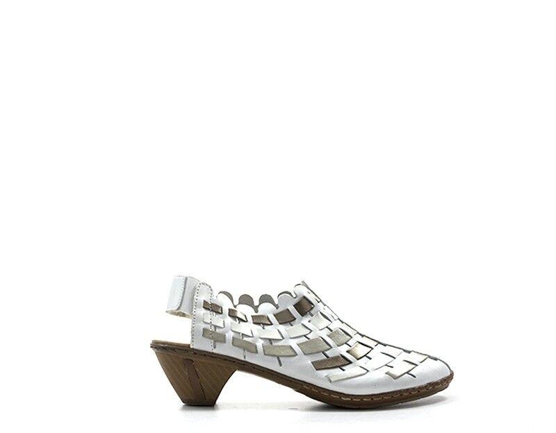 shoes RIEKER women Sandali Bassi  BIANCO Pelle naturale RIE46778-81.WE_01.01