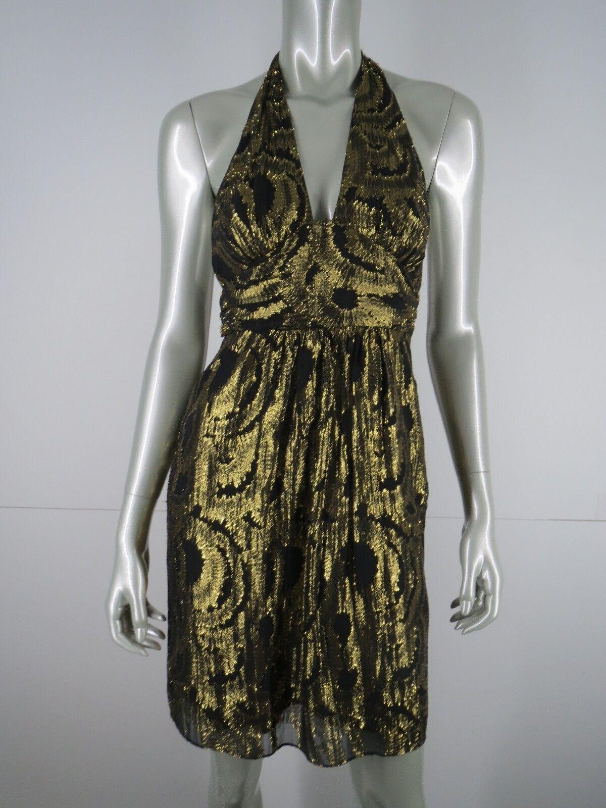 Milly Dress Cocktail Party Sz 2 schwarz Gold Metallic Silk Floral Halter Badydoll