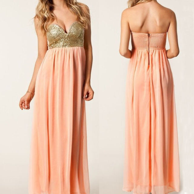 1PC Summer Women Ladies Sexy Sequin Strapless Party Cocktail Maxi Dress Stylish
