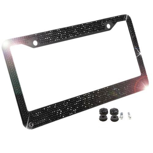 Zone  Tech Car License Plate Frame Rhinestone Bling Carbon Metal Chrome Black