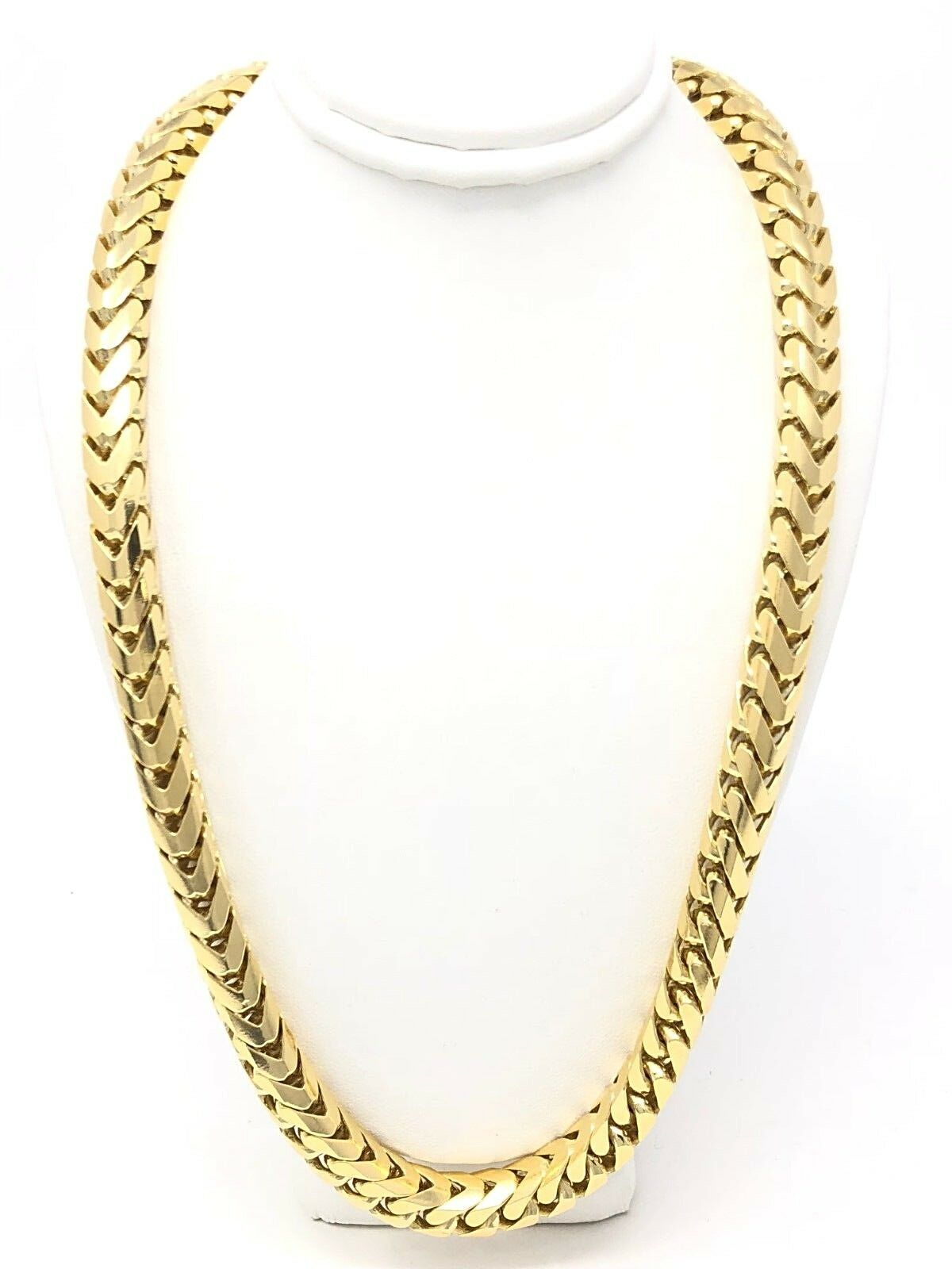 MN131-041 1mm 14K Yellow Gold Chain Solid Franco Chain Necklace  Gift box Ship from USA