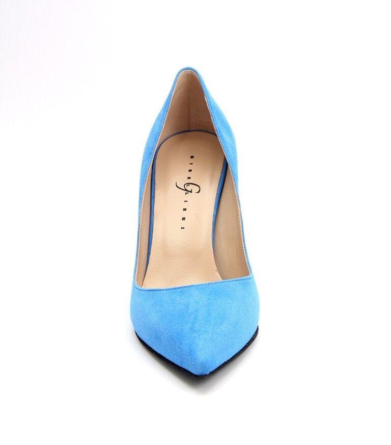 GIBELLIERI 3367y Azul Ante Pumps Pointy Pumps Ante .5US 9.5 8c9e5b