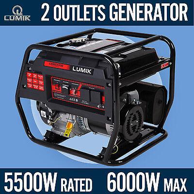 5.5kVA Rated / 6.0kVA Max Generator Portable Camping Caravans 4 Stroke - Petrol