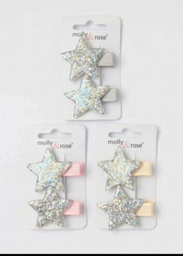 Silver or Pink Ribbon Detail New Pack of 2 Star Hair Beak Clip/'s with Gold