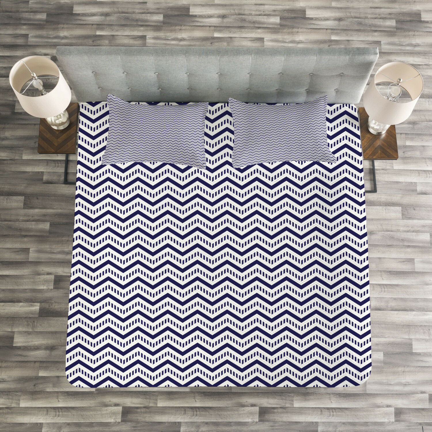 Navy blu Quilted Bedspread & Pillow Shams Set, Chevron Dashed Lines Print