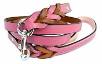 Soft Touch Collars - Pink Leather Braided Dog Leash, 6 Foot X 3/4 Inch - Perfect