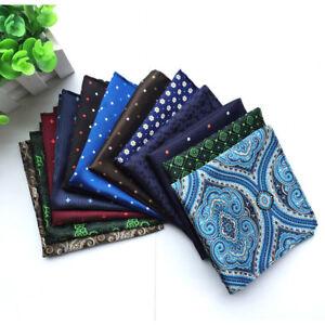 Men-Floral-Paisley-Pocket-Square-Flowers-Polka-Dots-Hanky-Handkerchief-BWTHZ0048
