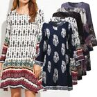 ZANZEA Ladies Women Summer Crew Neck Long Sleeve Floral Loose Casual Mini Dress