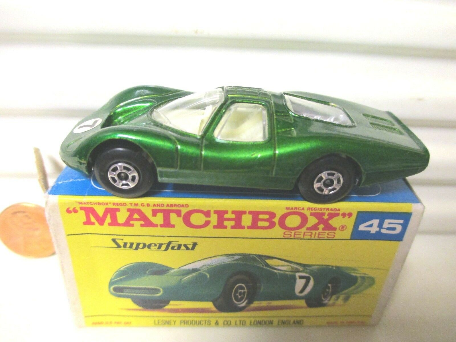 LESNEY MATCHBOX 1970 MB45B Vert FORD GROUPE 6 Unpaint base  7 Round LBL mintbxd